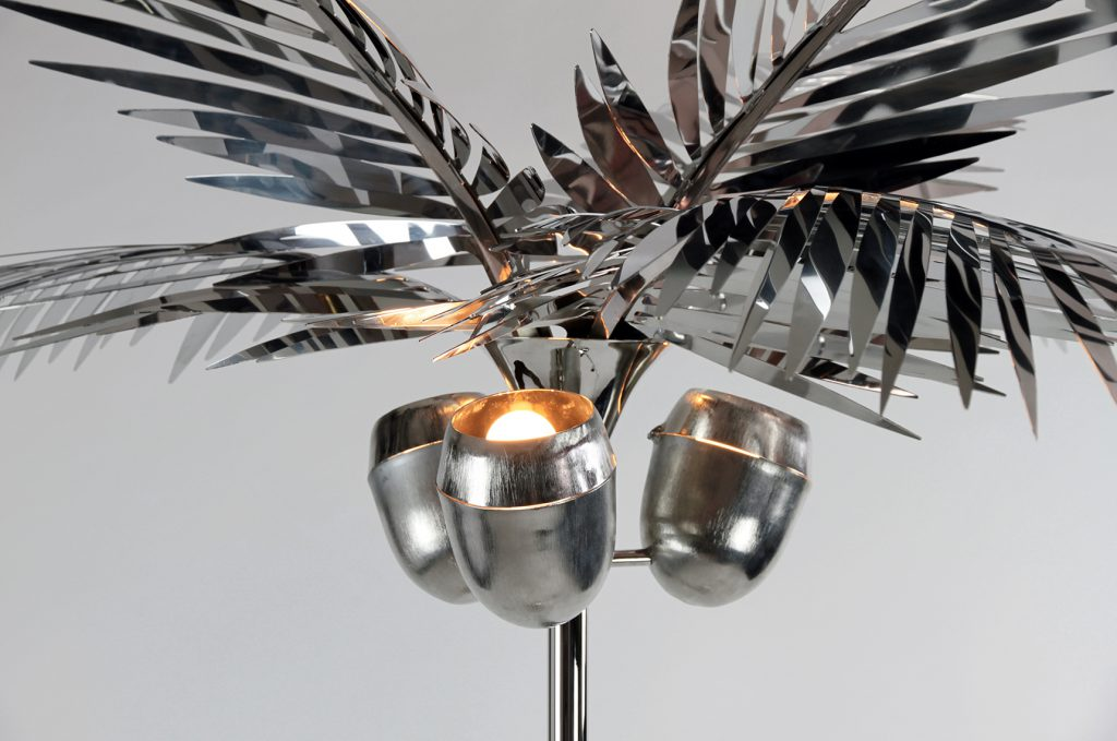 california king palm tree floor lamp in brass available in chrome